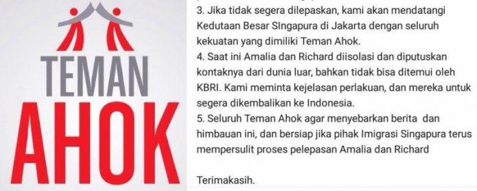 KBRI Singapura: Tidak Benar Teman Ahok Diperlakukan seperti Teroris